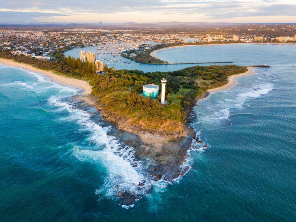 Aerial view of Mooloolaba, Australia.