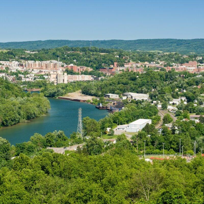 Aerial view of Morgantown, West Virginia.