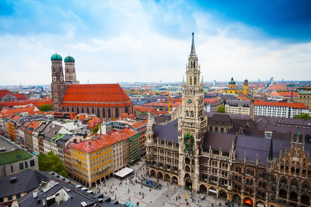Aerial view of Munich, Germany.