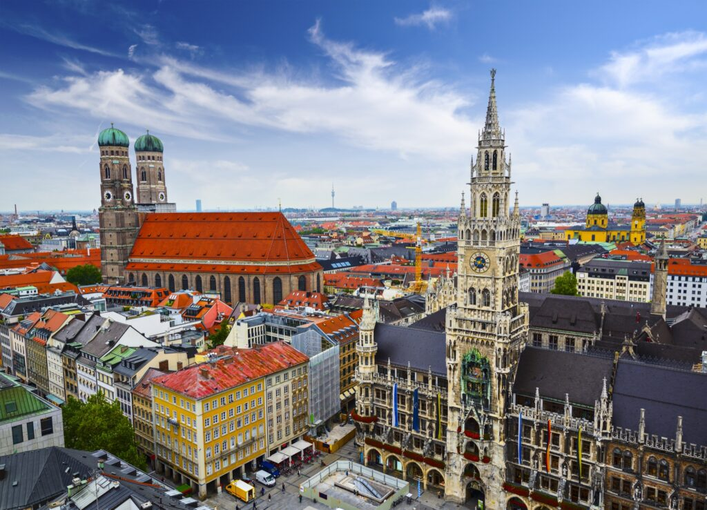 Aerial view of Munich in Germany.