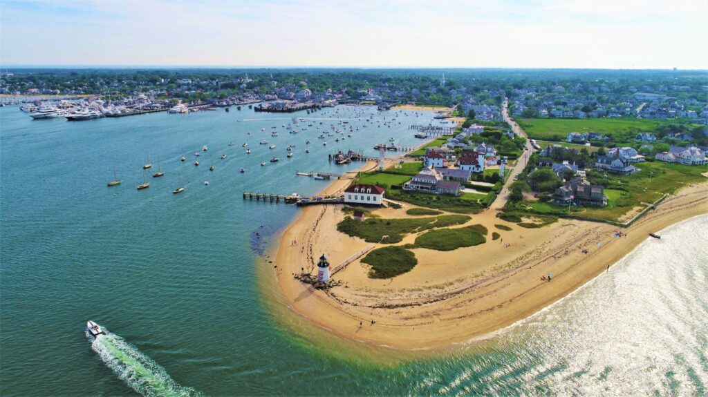 Aerial view of Nantucket.