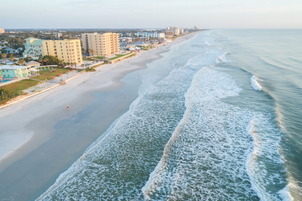 Aerial view of New Smyrna Beach in Florida.