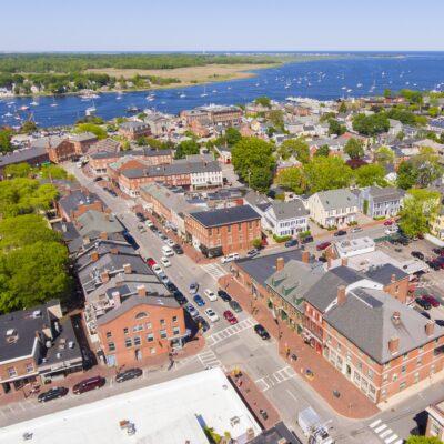 Aerial view of Newburyport, Massachusetts.