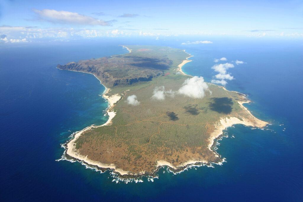 Aerial view of Niihau island in Hawaii.