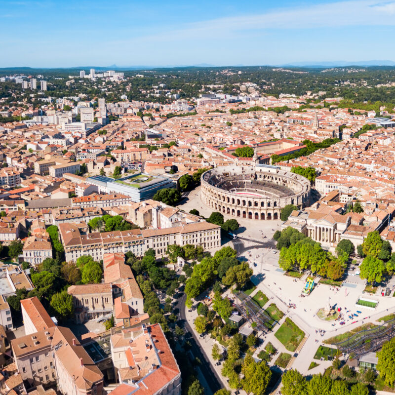 Aerial view of Nimes Arena in France.