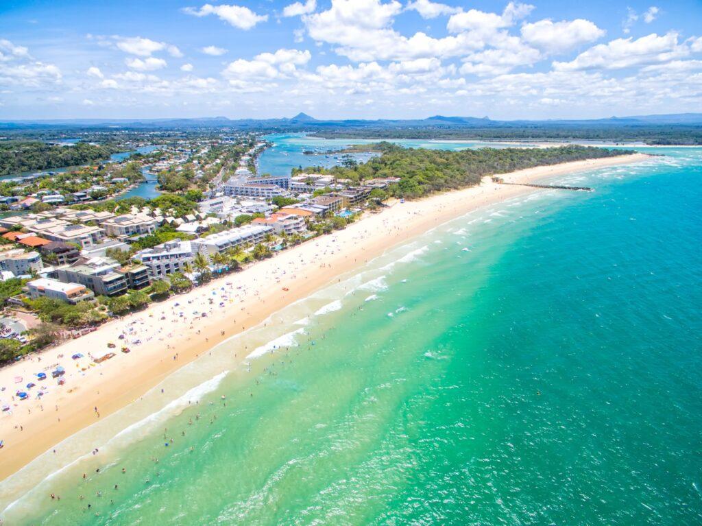 Aerial view of Noosa, on the coast of Australia.