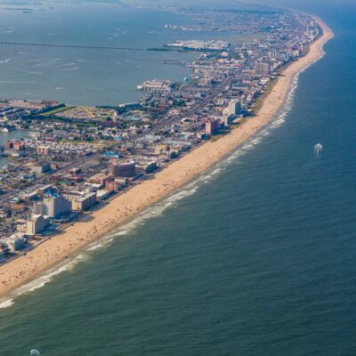 Aerial view of Ocean City, Maryland.