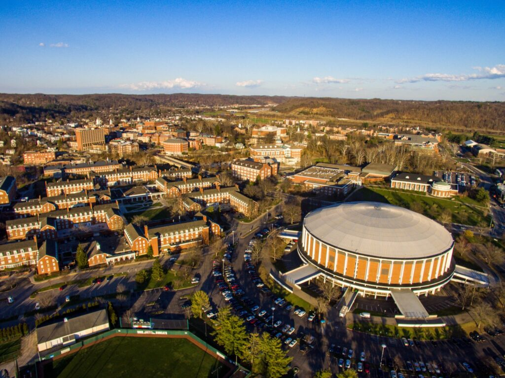 Aerial view of Ohio State University in Athens.