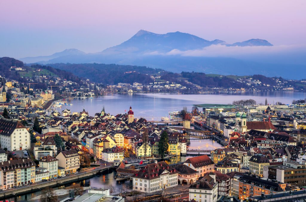 Aerial view of Old Town Lucerne, Switzerland.