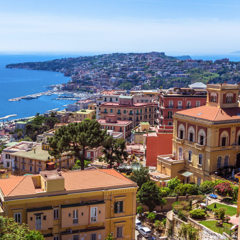 Aerial view of Old Town Naples in Italy.