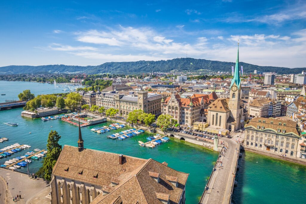 Aerial view of Old Town, Zurich.