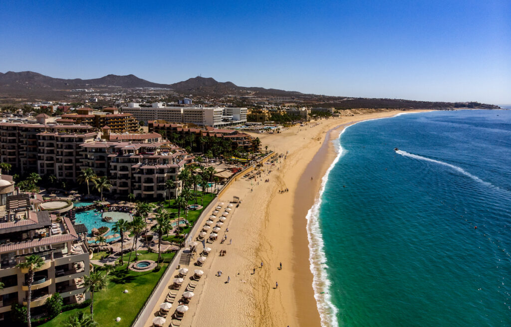 Aerial view of one of the many beaches in Cabo San Lucas.