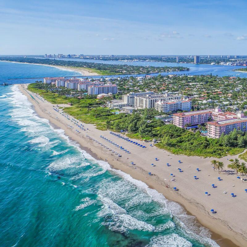 Aerial view of Palm Beach Shores, Florida.