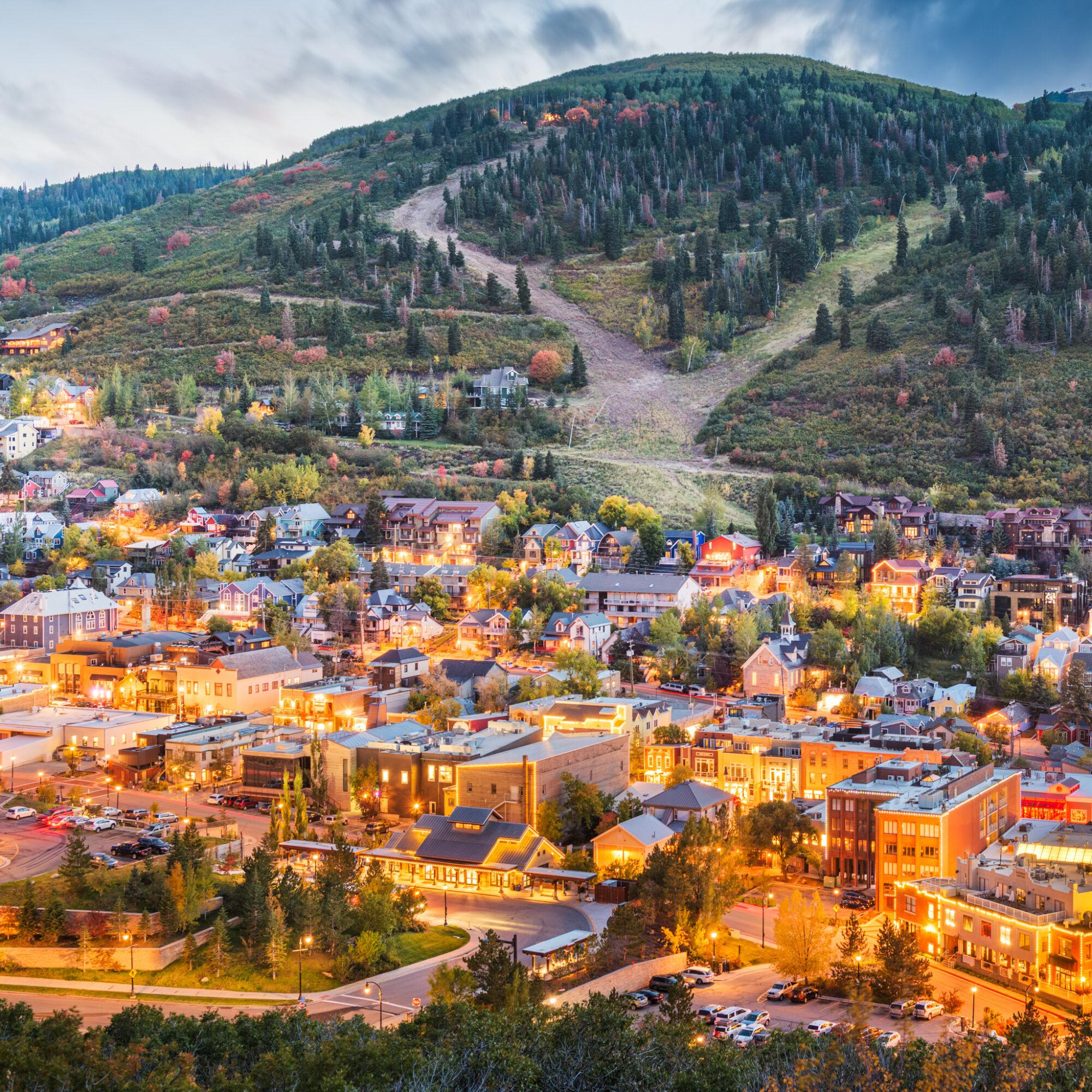 Aerial view of Park City, Utah.