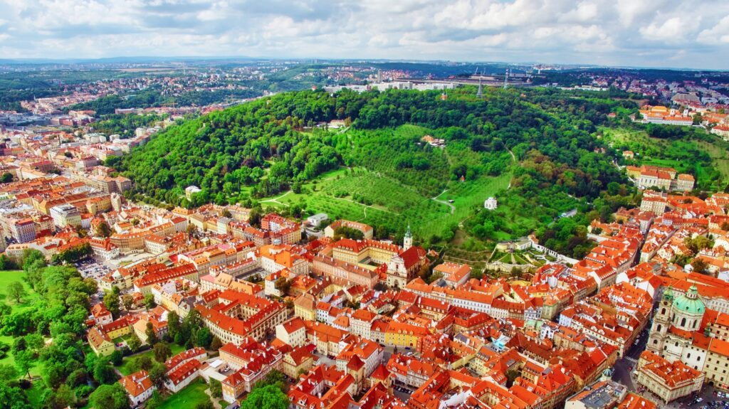 Aerial view of Petrin Hill in Prague.