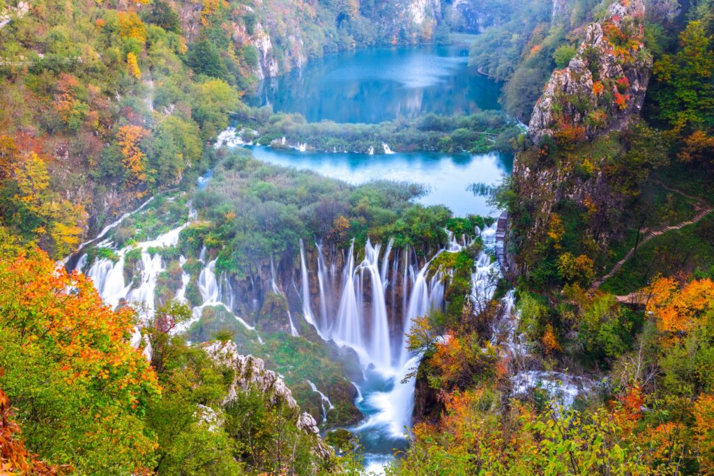 Aerial view of Plitvice Lakes National Park in the fall.