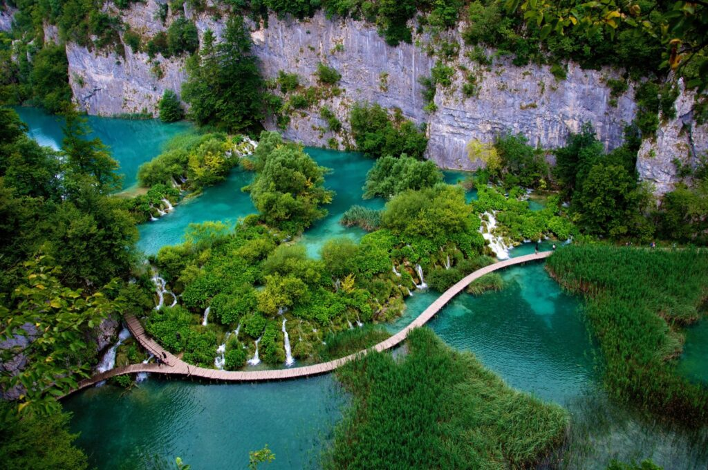 Aerial view of Plitvice Lakes National Park.
