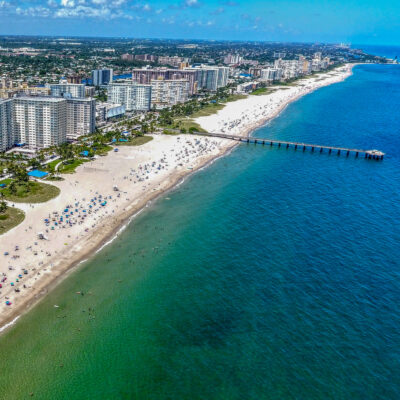 Aerial view of Pompano Beach in Florida.
