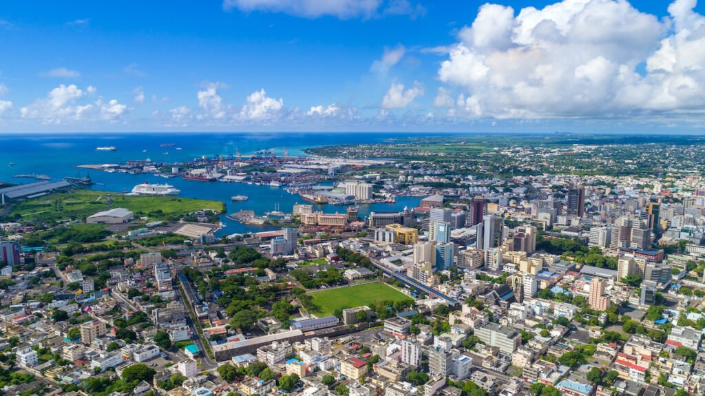 Aerial view of Port Louis on Mauritius island.