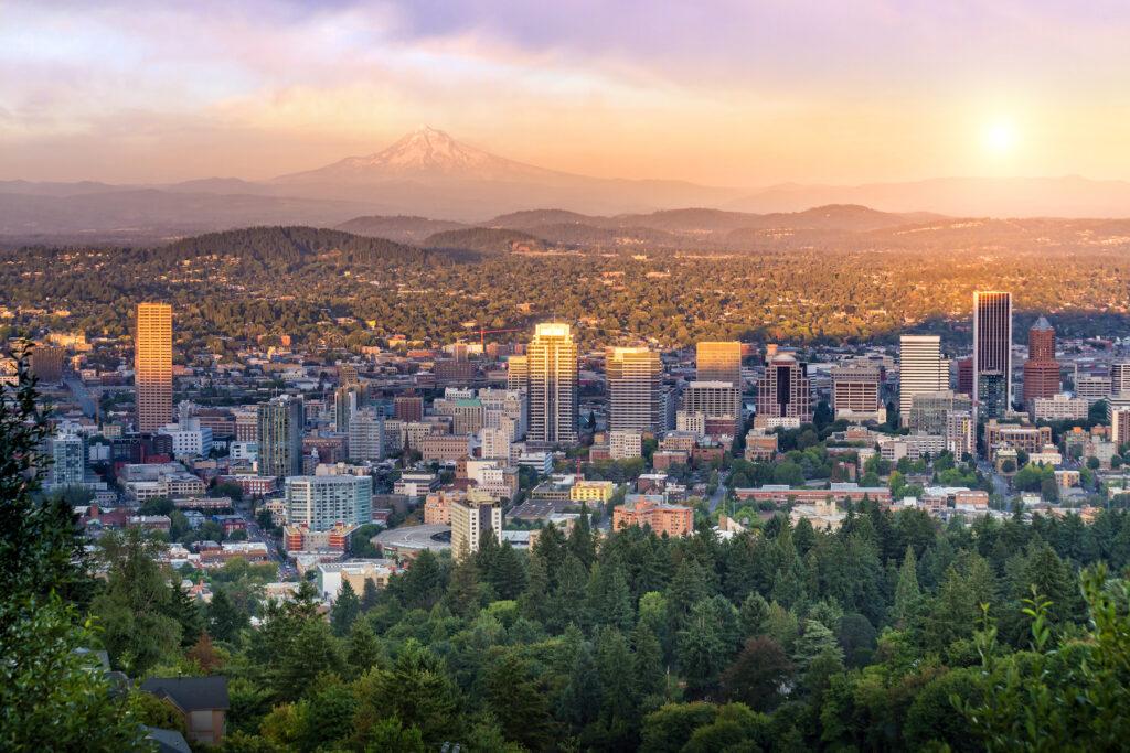 Aerial view of Portland, Oregon.