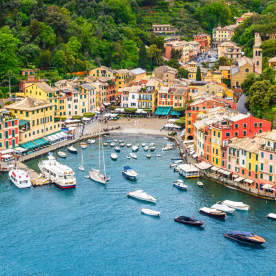 Aerial view of Portofino, Italy.