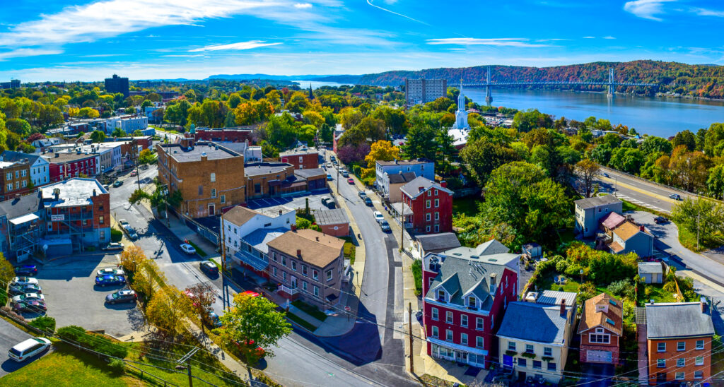 Aerial view of Poughkeepsie from the Walkway Over the Hudson.