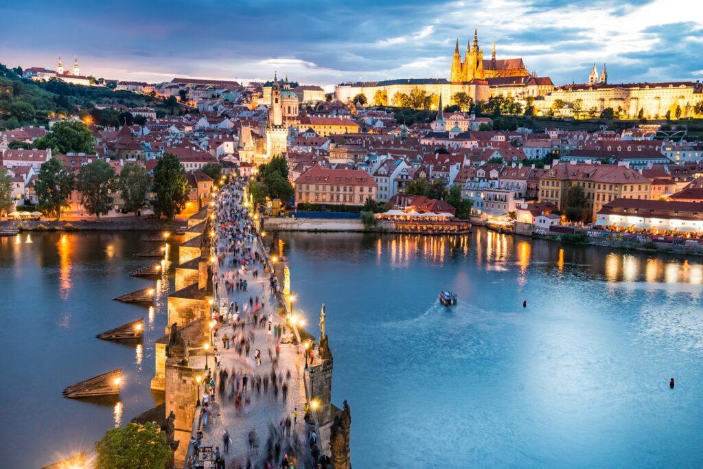 Aerial view of Prague at night time.