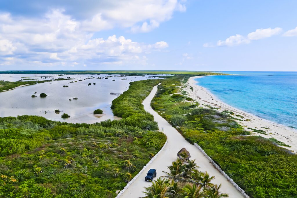 Aerial view of Punta Sur Eco Beach Park in Cozumel.