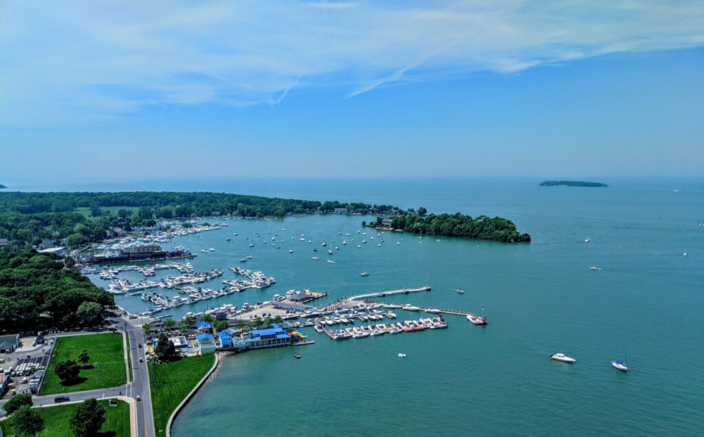 Aerial view of Put-In-Bay, Ohio.