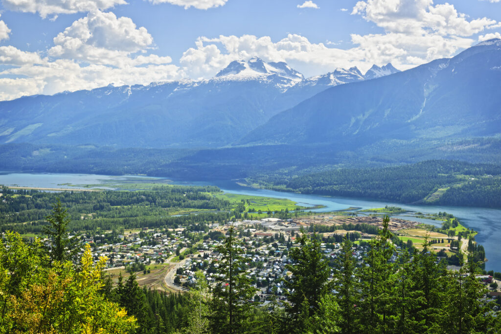 Aerial view of Revelstoke in the Canadian Rockies.