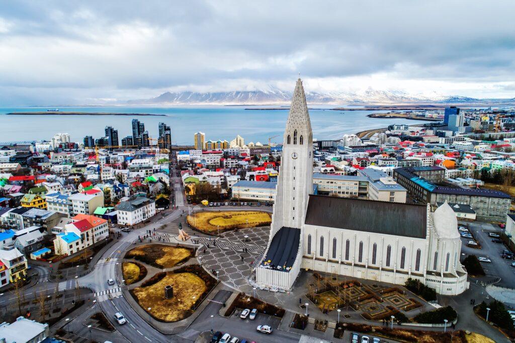 Aerial view of Reykjavík, Iceland.