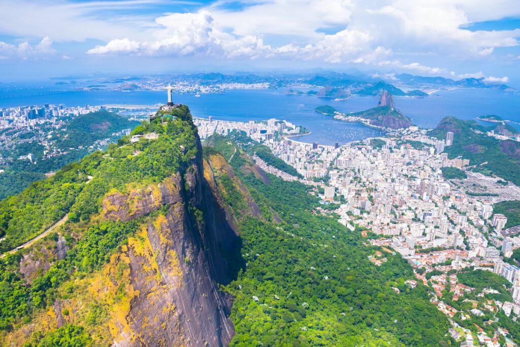 Aerial view of Rio de Janeiro, Brazil, and surrounding islands.