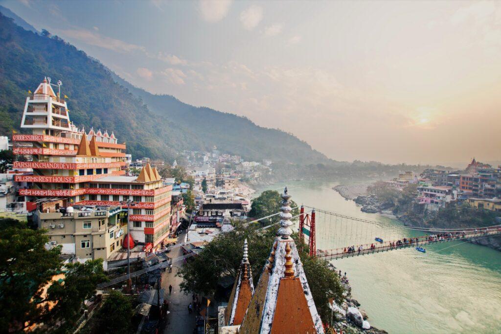 Aerial view of Rishikesh, India.