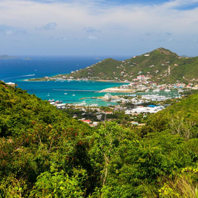 Aerial view of Road Town in Tortola, British Virgin Islands.