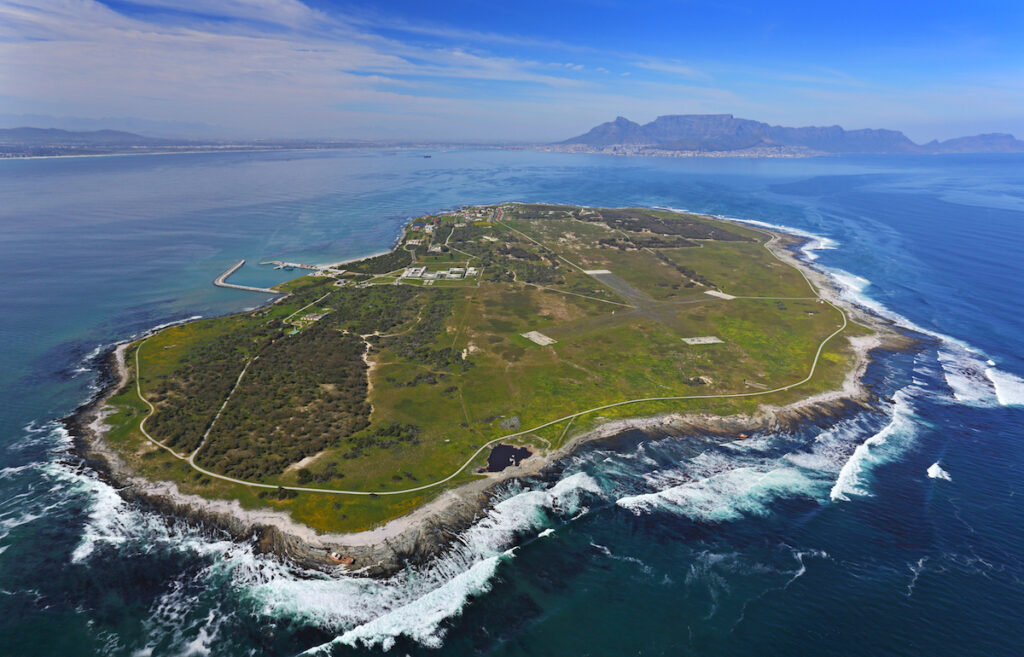 Aerial view of Robben Island near Cape Town.