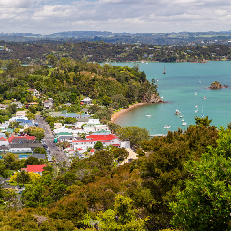 Aerial view of Russell, a quaint town in New Zealand.