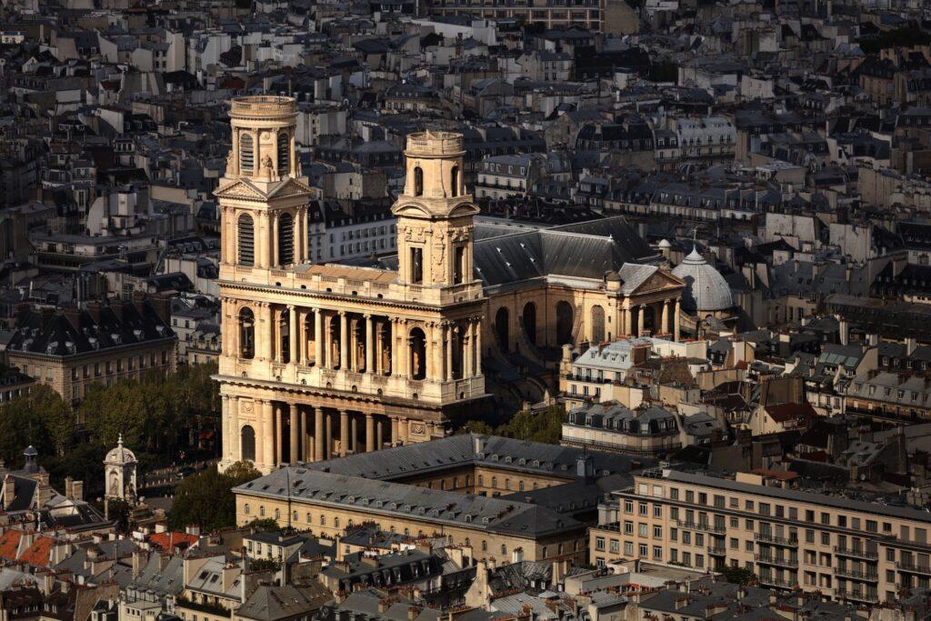 Aerial view of Saint Sulpice in Paris.