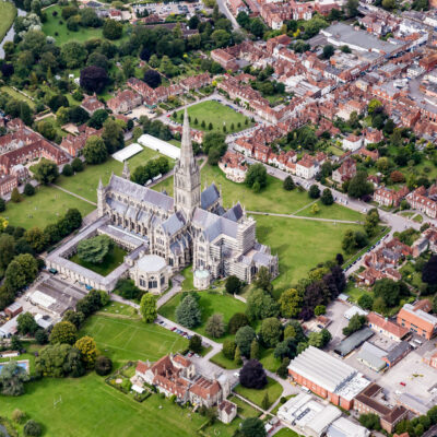 Aerial view of Salisbury, England.