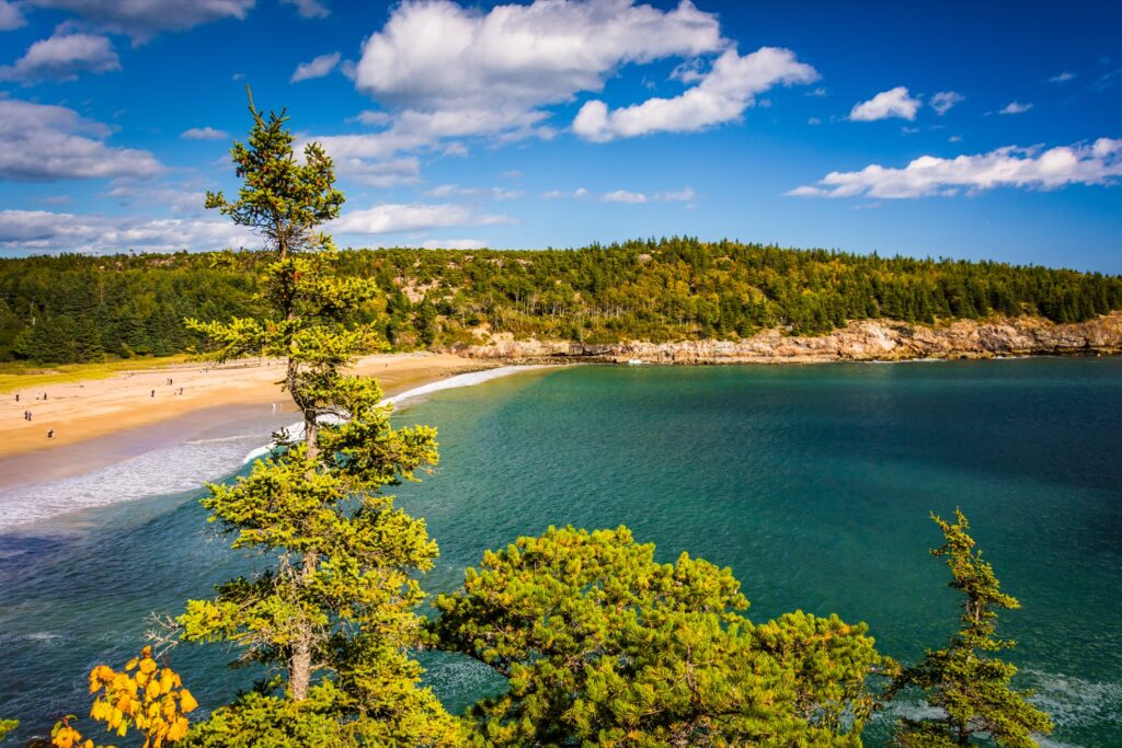 Aerial view of Sand Beach in Acadia National Park.