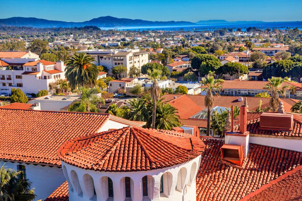 Aerial view of Santa Barbara, California.