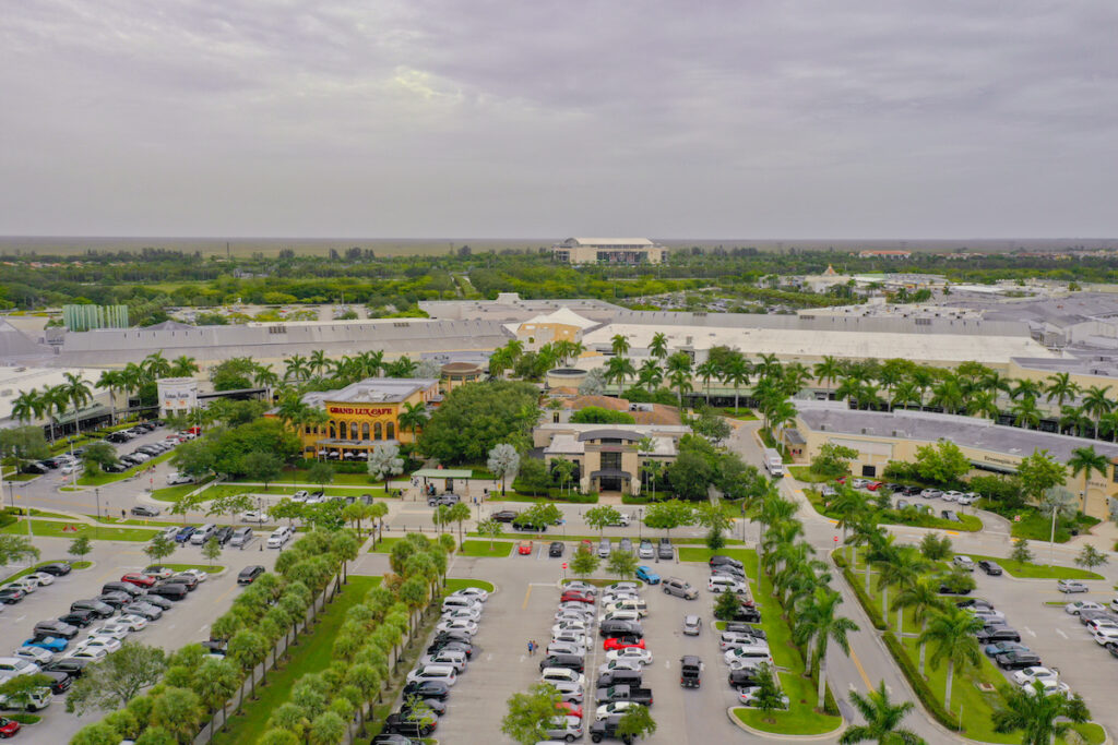 Aerial view of Sawgrass Mills in Fort Lauderdale, Florida.