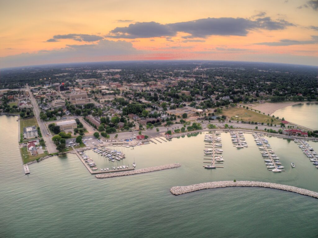 Aerial view of Sheboygan, Wisconsin.