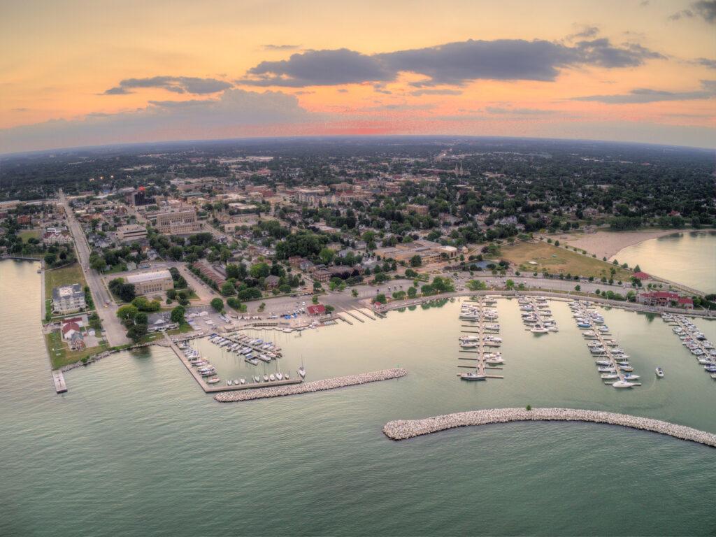 Aerial view of Sheboygan, Wisconsin.