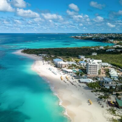 Aerial view of Shoal Bay Beach on the Caribbean island of Anguilla.