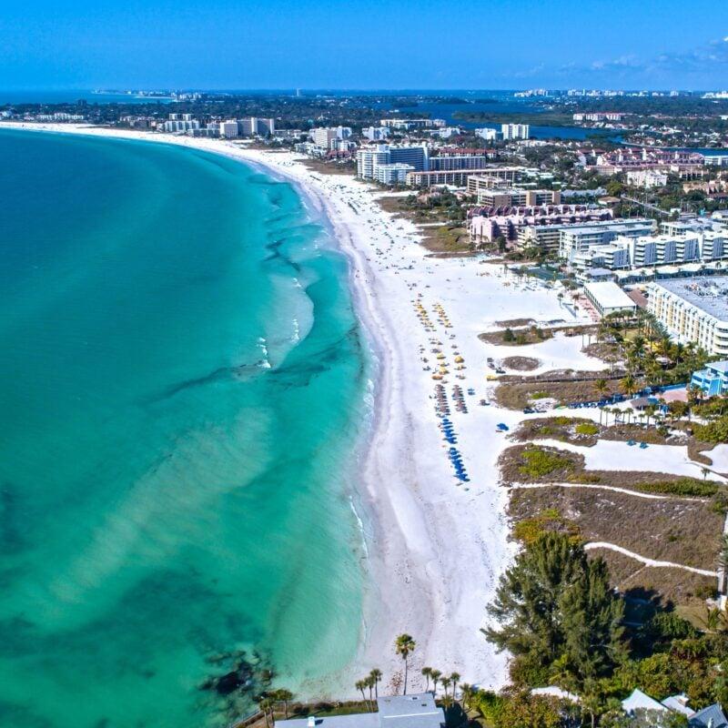 Aerial view of Siesta Key beach in Florida.