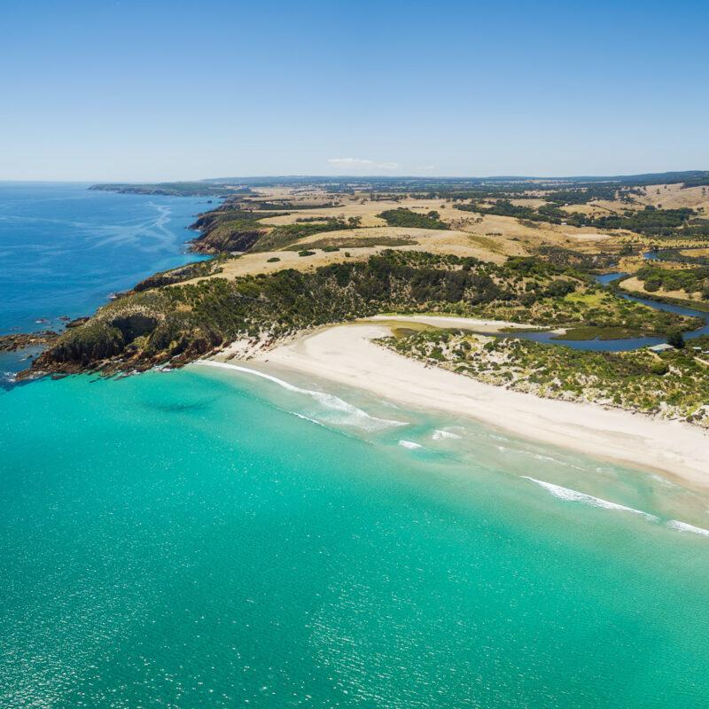 Aerial view of Snelling Beach on Kangaroo Island.