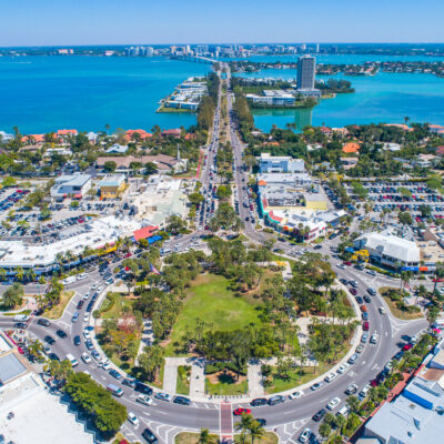 Aerial view of St. Armands Circle in Florida.