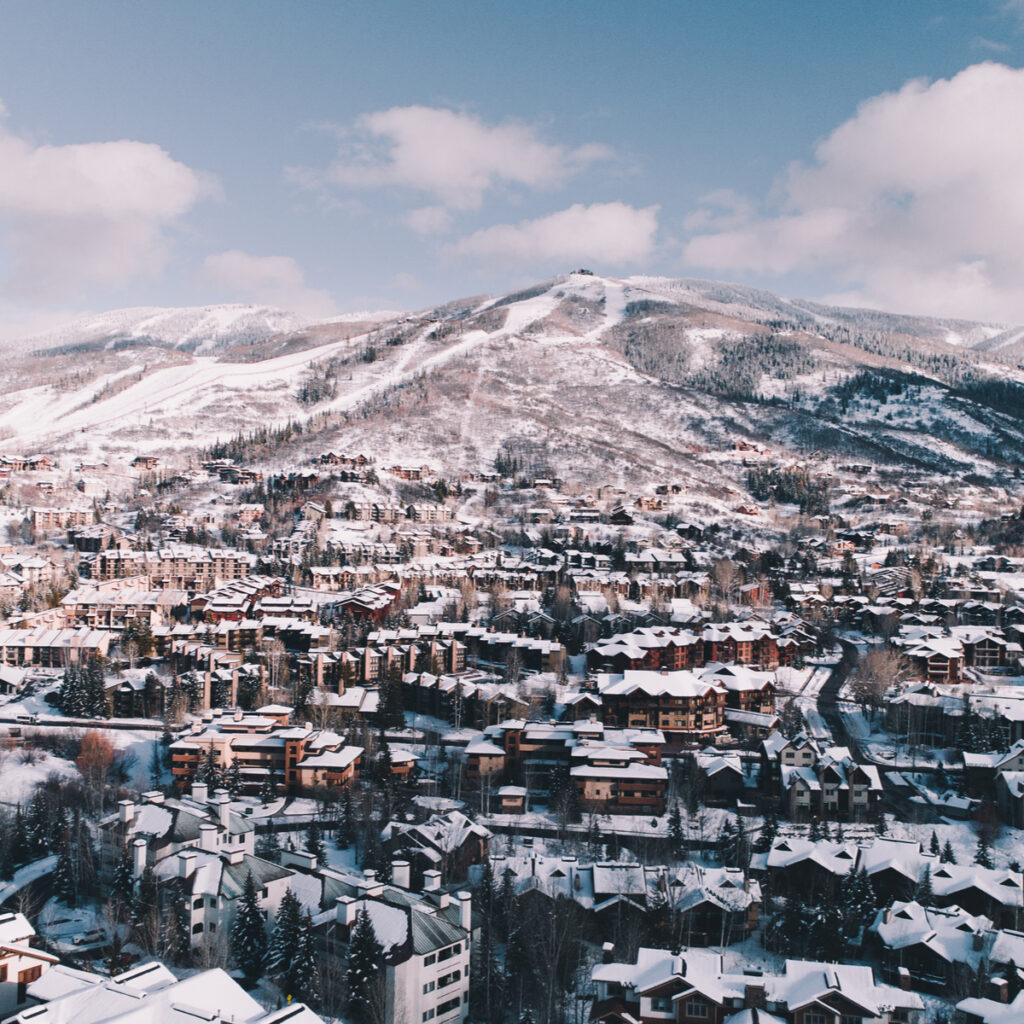 Aerial view of Steamboat Resort in Colorado.