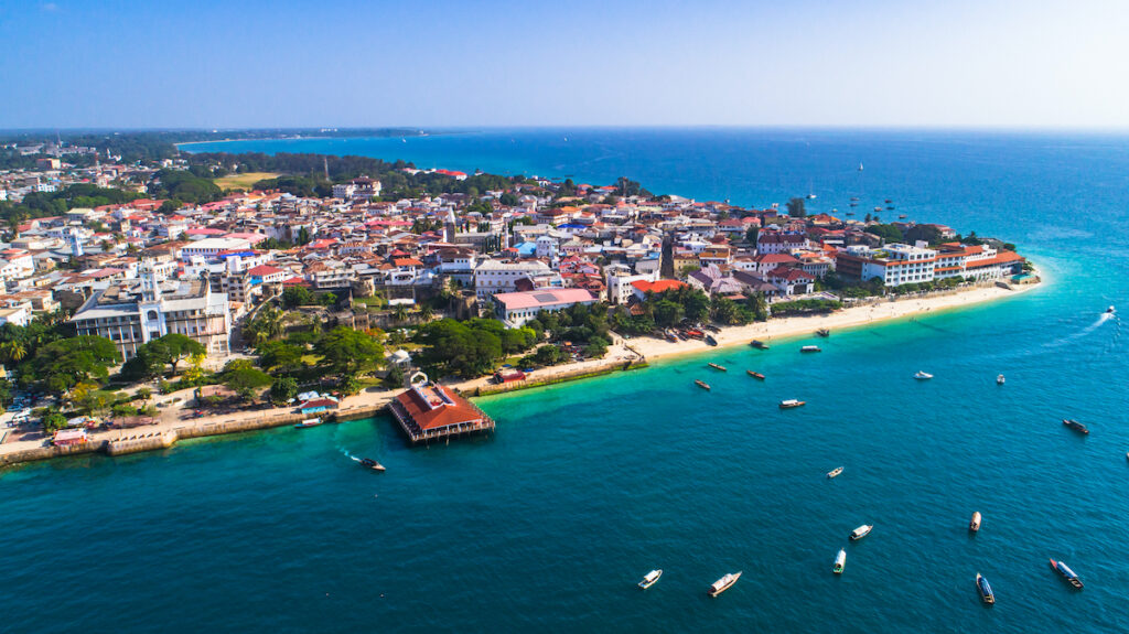Aerial view of Stone Town in Zanzibar.