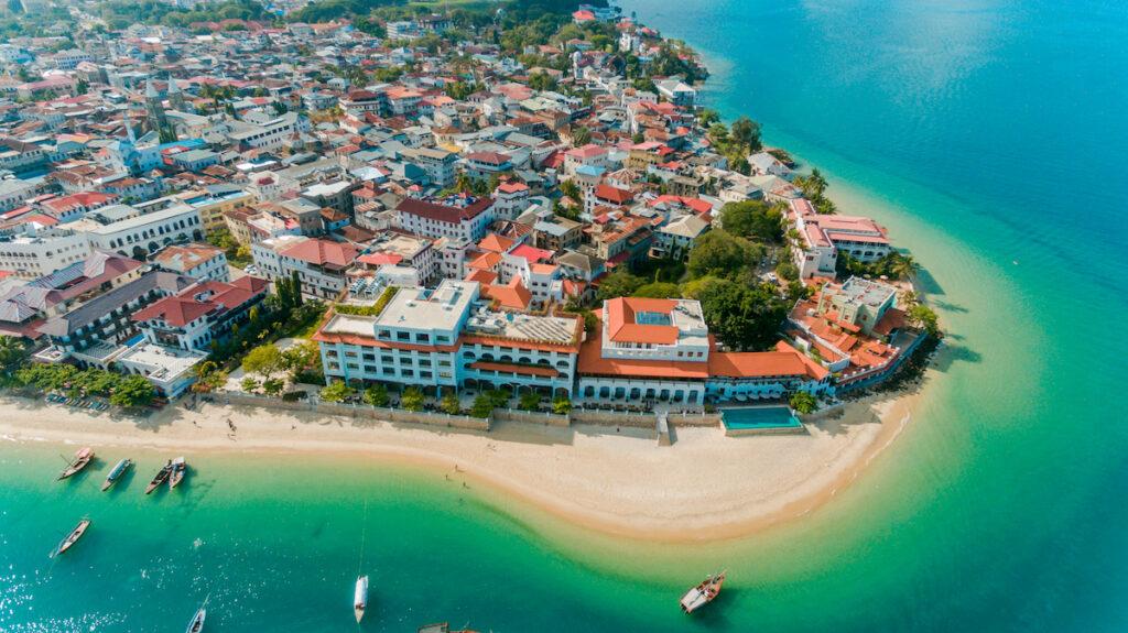 Aerial view of Stone Town in Zanzibar, Tanzania.